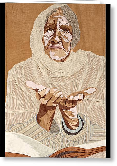 Sewing Machine Tapestries - Textiles Greeting Cards - Old Pakistani Woman Greeting Card by Patt Tiemeier