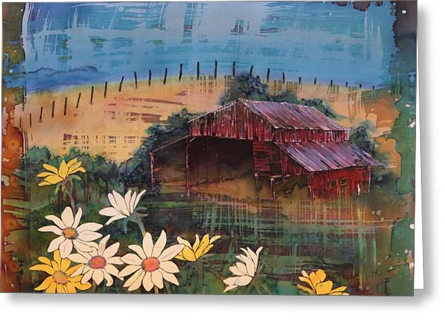 Prairies Tapestries - Textiles Greeting Cards - Old Palouse Barn Greeting Card by Carolyn Doe