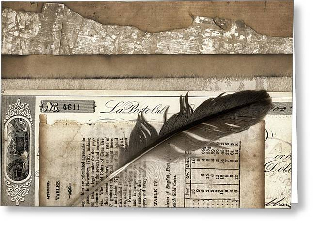 Ledger Greeting Cards - Old Papers and a Feather Greeting Card by Carol Leigh
