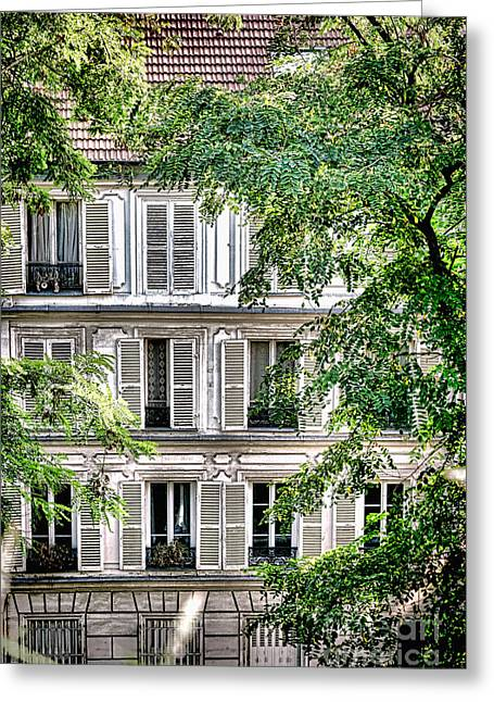 Parisian Greeting Cards - Old Parisian Building Greeting Card by Olivier Le Queinec