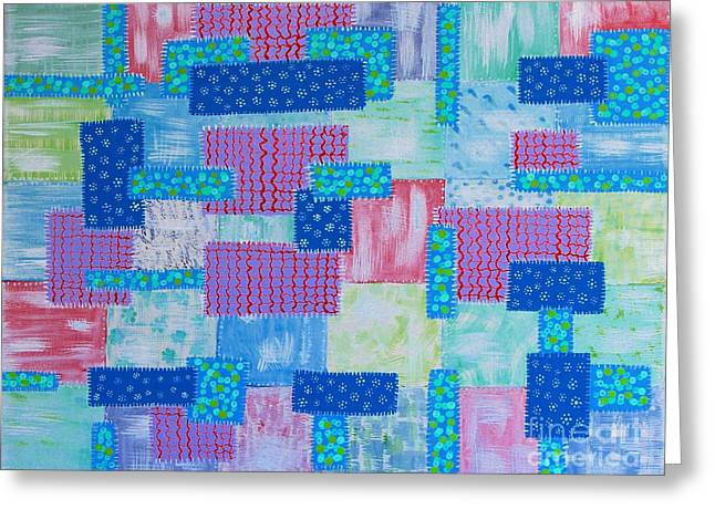 Patch Quilts Greeting Cards - Old Patched Quilt Blue Greeting Card by Barbara Griffin