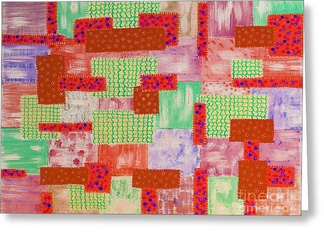 Patch Quilts Greeting Cards - Old Patched Quilt Red Greeting Card by Barbara Griffin