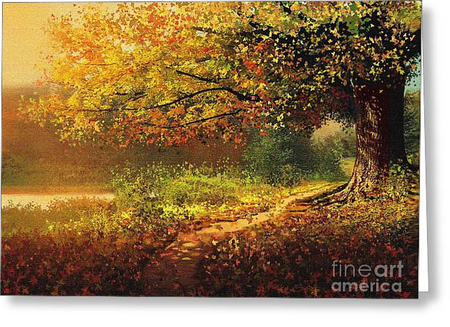 Fallen Leaf Mixed Media Greeting Cards - Old Path Greeting Card by Robert Foster