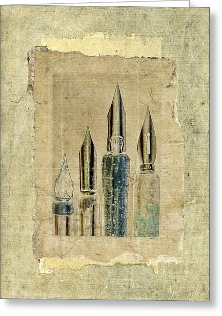 Pen Digital Greeting Cards - Old Pens Old Papers Greeting Card by Carol Leigh