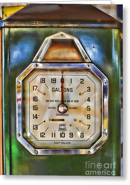 Fuel Gauge Greeting Cards - Old Petrol Pump Greeting Card by Craig B