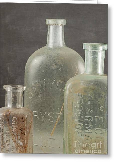 Glass Bottle Greeting Cards - Old Pharmacy Bottle Greeting Card by Juli Scalzi