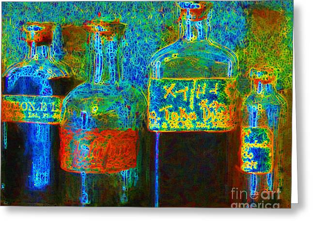 Pharmacist Digital Greeting Cards - Old Pharmacy Bottles - 20130118 v1a Greeting Card by Wingsdomain Art and Photography