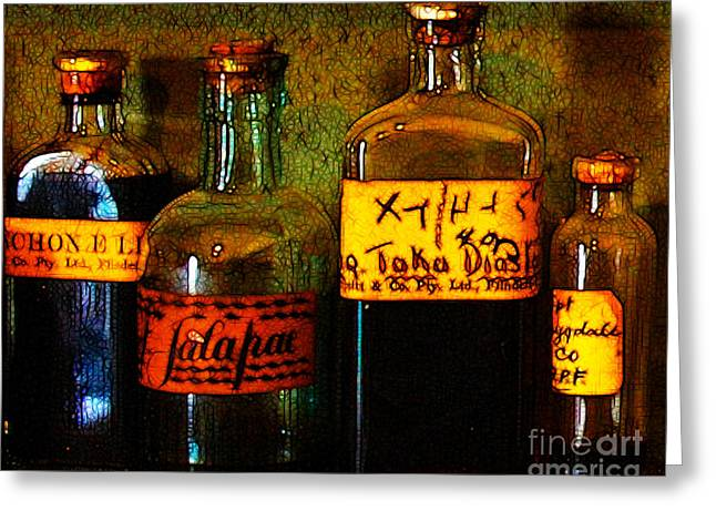 Cod Digital Greeting Cards - Old Pharmacy Bottles - 20130118 v1b Greeting Card by Wingsdomain Art and Photography