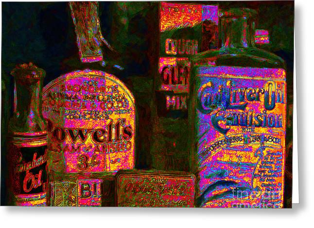 Cod Digital Greeting Cards - Old Pharmacy Bottles - 20130118 v2a Greeting Card by Wingsdomain Art and Photography