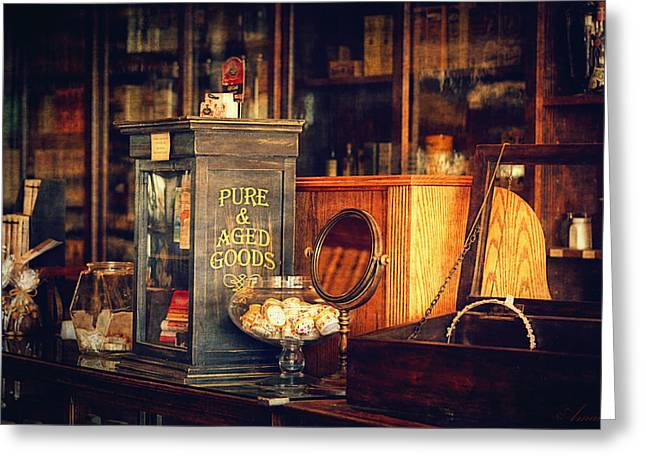 Medication Greeting Cards - Old Pharmacy Greeting Card by Maria Angelica Maira