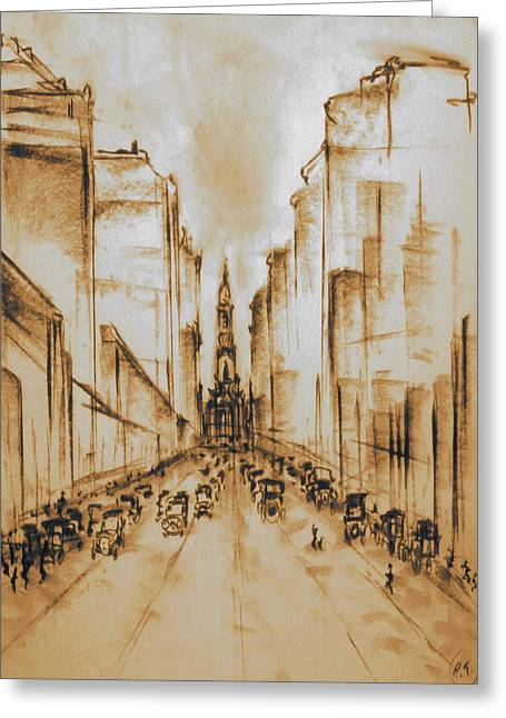 Urban Images Drawings Greeting Cards - Old Philadelphia 1920 - Chalk Drawing Greeting Card by Peter Fine Art Gallery  - Paintings Photos Digital Art