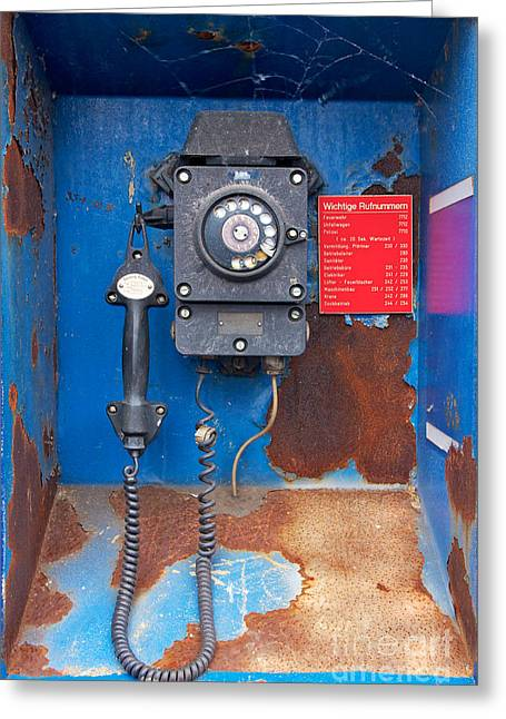 Dialing Greeting Cards - Old Phone at Industrial Harbor Greeting Card by Jannis Werner
