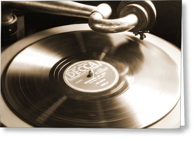 Sepia Digital Art Greeting Cards - Old Phonograph Greeting Card by Mike McGlothlen