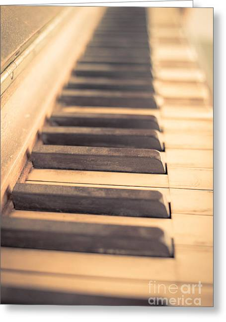Playing Music Greeting Cards - Old Piano Keys Greeting Card by Edward Fielding