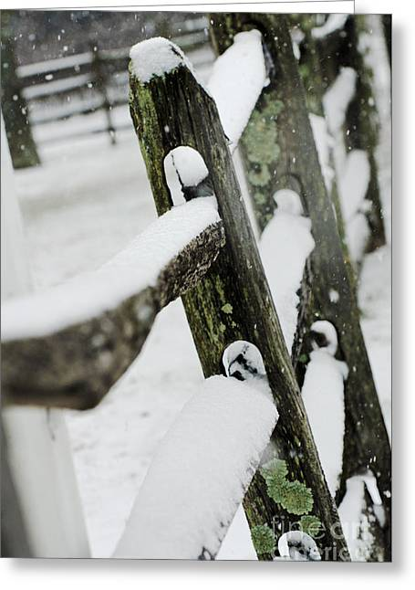Snow Scene Mixed Media Greeting Cards - Rustic picket fence in snow landscape - Photography Greeting Card by ArtyZen Studios - ArtyZen Home