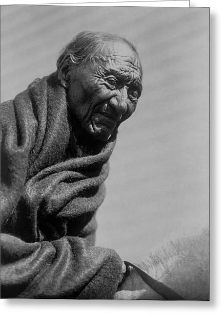 Gray Hair Greeting Cards - Old Piegan Man circa 1910 Greeting Card by Aged Pixel