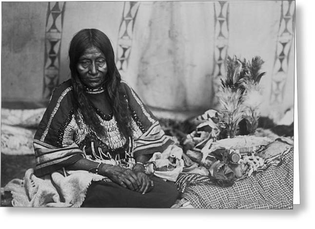 Blanket Photographs Greeting Cards - Old Piegan woman circa 1910 Greeting Card by Aged Pixel