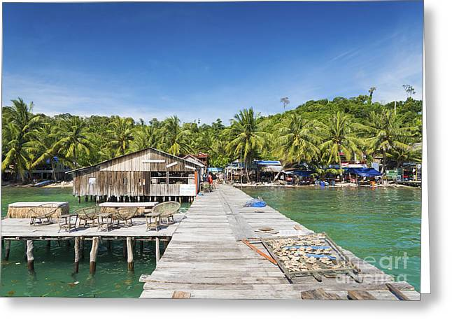 Paradise Pier Attraction Greeting Cards - Old Pier Of Koh Rong Island In Cambodia Greeting Card by Jacek Malipan