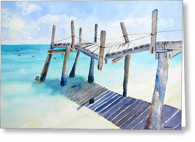 Dilapidated Paintings Greeting Cards - Old Pier on Playa Paraiso Greeting Card by Carlin Blahnik