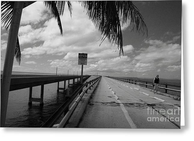 Bahia Honda State Park Greeting Cards - Old Pigeon Key Bridge Greeting Card by Christiane Schulze Art And Photography