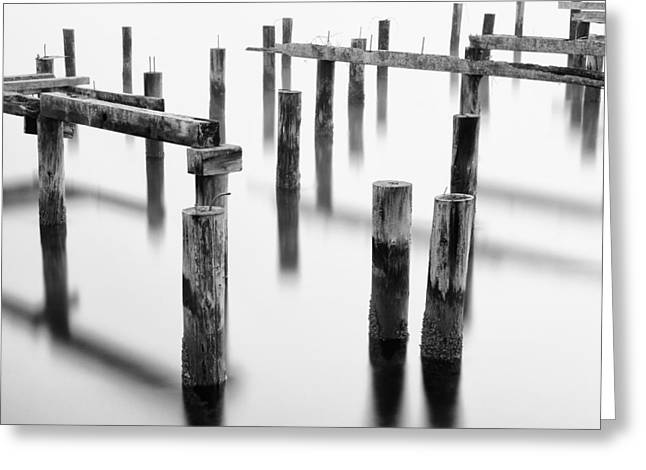 Ruston Greeting Cards - Old Pilings - Cummings Park - Puget Sound - Tacoma - Washington - January 2014 Greeting Card by Steve G Bisig