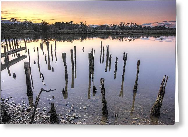 Crimson Tide Greeting Cards - Old Pilings on the Bon Secour Greeting Card by Michael Thomas