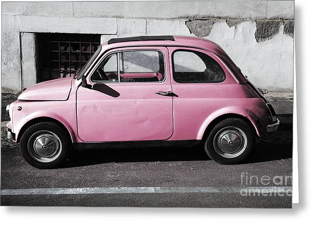 Exoticism Greeting Cards - Old pink FIAT 500 Greeting Card by Stefano Senise