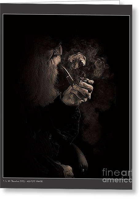 Smoker Greeting Cards - Old Pipe Smoker Greeting Card by Pedro L Gili