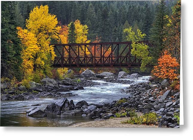 Footbridge Greeting Cards - Old Pipeline Bridge Greeting Card by Mark Kiver