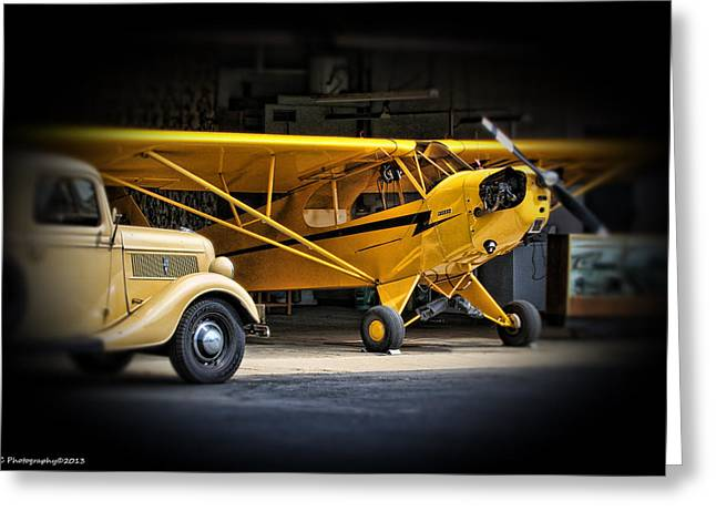 Piper Cub Greeting Cards - Old piper cub Greeting Card by Barry Claessens