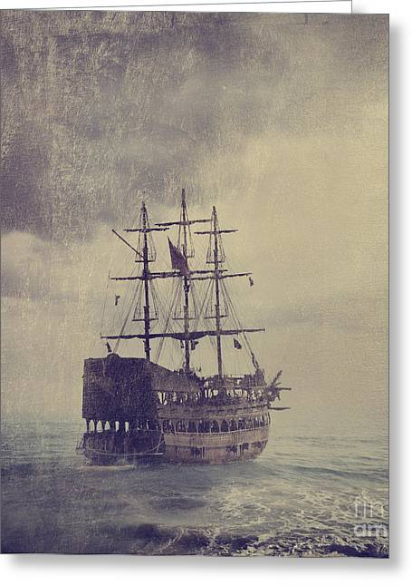 Tall Ship Pyrography Greeting Cards - Old Pirate Ship Greeting Card by Jelena Jovanovic