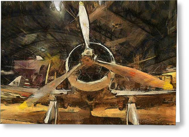 Air Force Mixed Media Greeting Cards - Old Plane In The Hangar Greeting Card by Dan Sproul