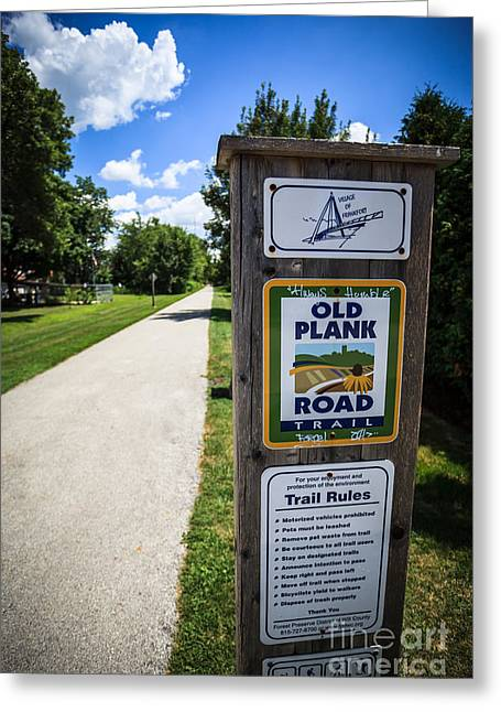 Old Walkway Greeting Cards - Old Plank Road Trail Sign Greeting Card by Paul Velgos