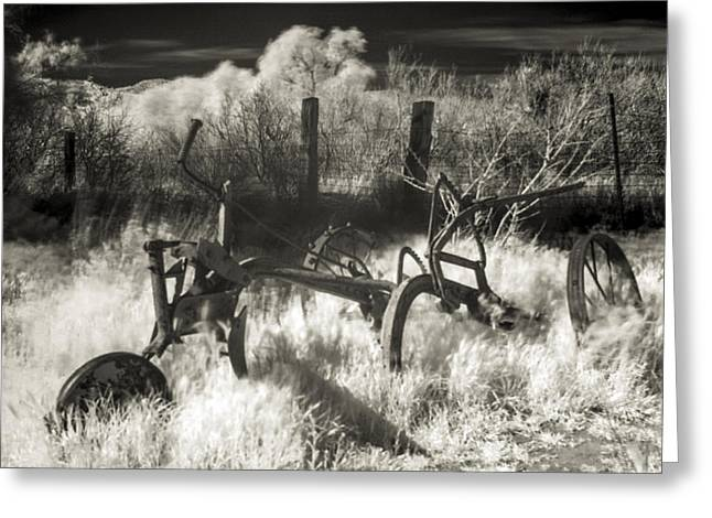 Ghostly Barn Greeting Cards - Old Plow Greeting Card by Scott Campbell