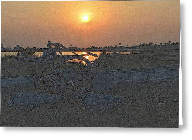 Sunset Framed Prints Drawings Greeting Cards - Old Plow Sunset Greeting Card by Richard Zentner