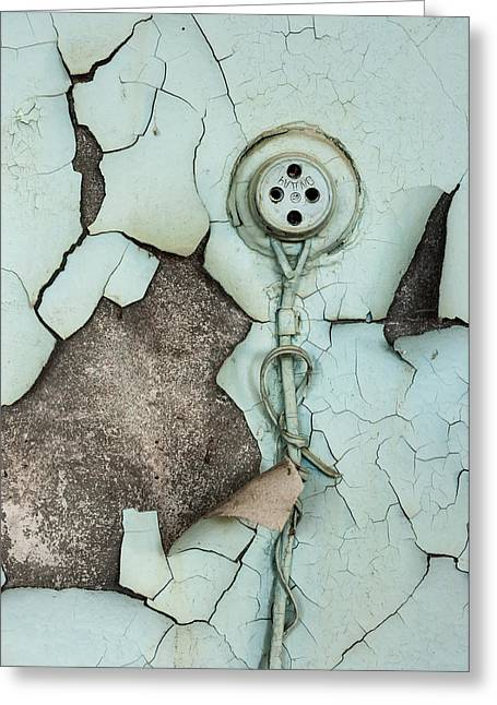 Component Pyrography Greeting Cards - Old plug on abandoned wall Greeting Card by Oliver Sved