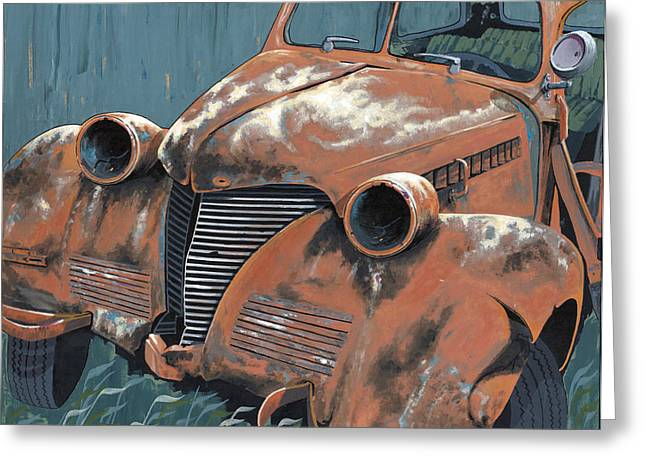 Rusted Cars Paintings Greeting Cards - Old Plymouth Greeting Card by John Wyckoff