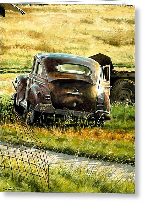 Rusted Cars Paintings Greeting Cards - Old Plymouth Greeting Card by Tom Hedderich