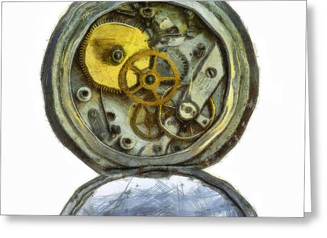 old pocket watch Greeting Card by Michal Boubin