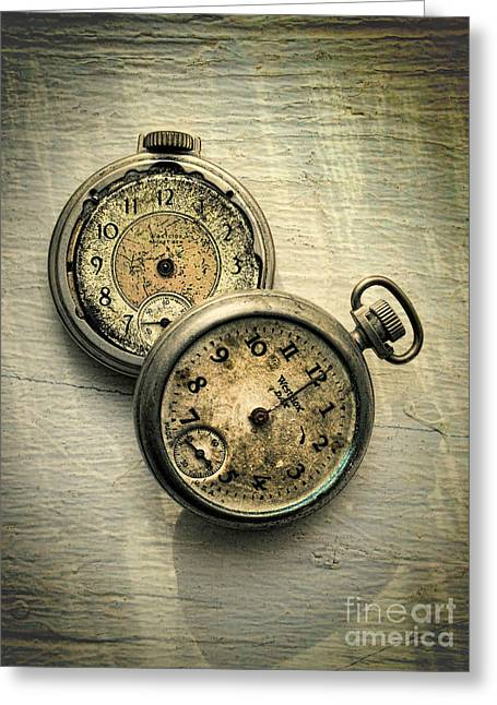 Pairs Greeting Cards - Old Pocket Watches Greeting Card by Jill Battaglia