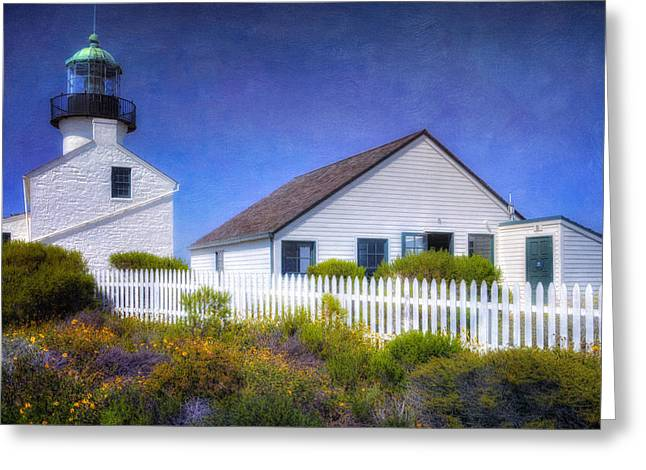 Illuminate Greeting Cards - Old Point Loma Lighthouse Greeting Card by Joan Carroll