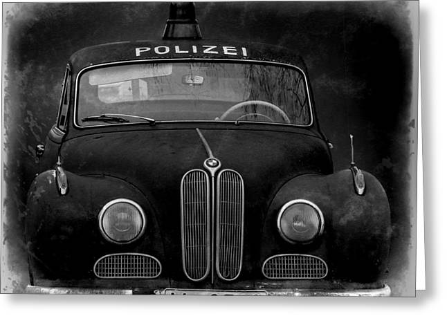 Law Enforcement Greeting Cards - Old Polizei Auto Greeting Card by Mountain Dreams