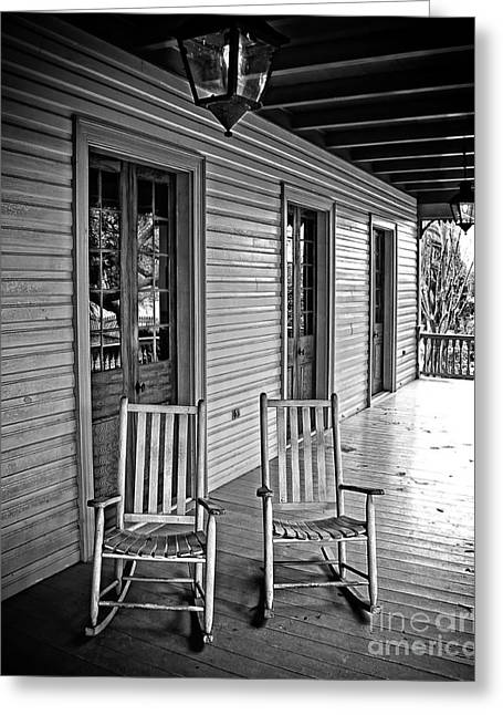 Rocking Chairs Digital Art Greeting Cards - Old Porch Rockers Greeting Card by Perry Webster
