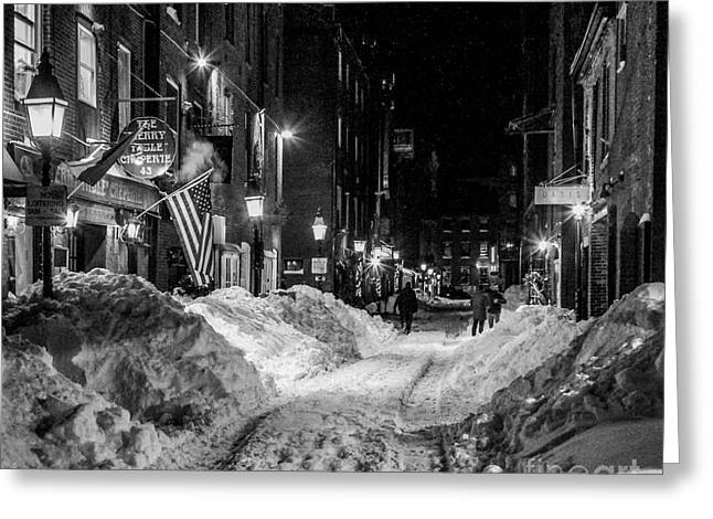 Maine Shore Greeting Cards - Old Port at Night Greeting Card by Joe Far Photos
