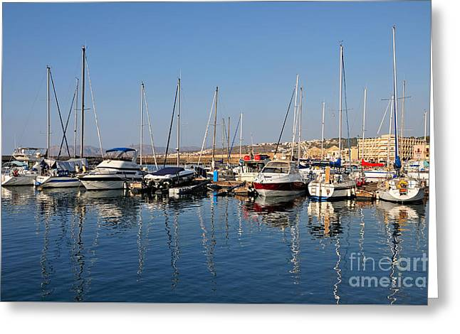 Town Greeting Cards - Old port of Chania city Greeting Card by George Atsametakis