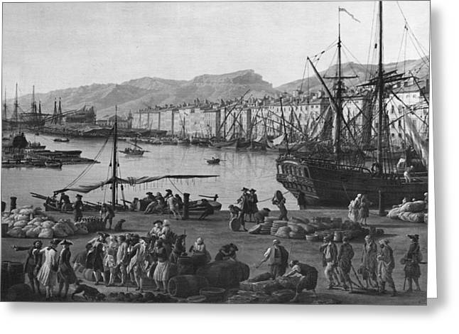 Engraving Greeting Cards - Old Port Of Toulon, Seen From The Quartermasters Stores, Series Of Les Ports De France, 1757 Left Greeting Card by Claude Joseph Vernet