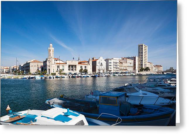 Old Port Greeting Cards - Old Port With City At The Waterfront Greeting Card by Panoramic Images