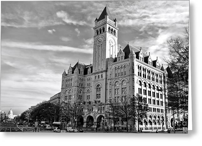 Washington Post Greeting Cards - Old Post Office and Pennsylvania Avenue Greeting Card by Olivier Le Queinec