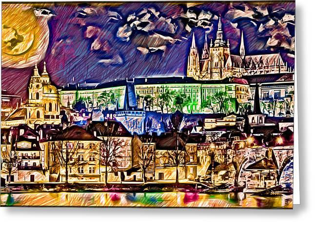 Vltava Digital Greeting Cards - Old Prague Magic - Wallpaper Greeting Card by Daniel Janda