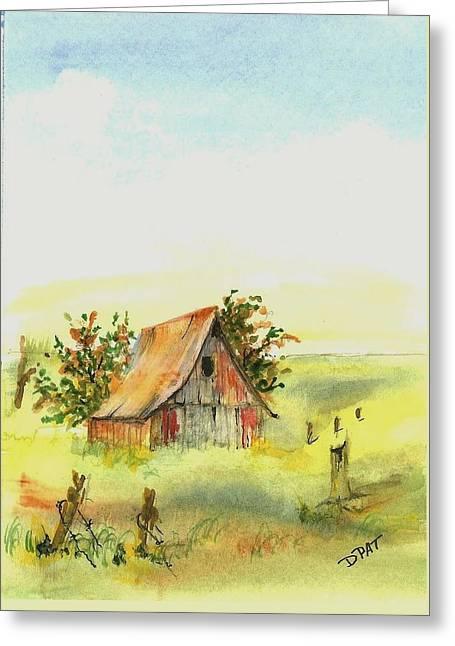 Old Prairie Barn Greeting Card by David Patrick